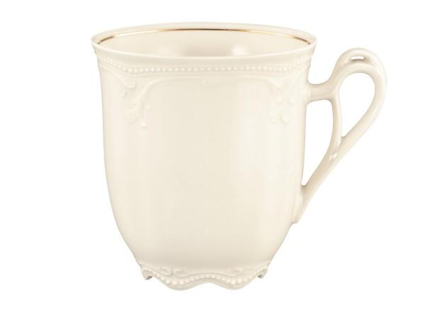 Rubin cream Goldrand Becher mit Henkel 0,33l