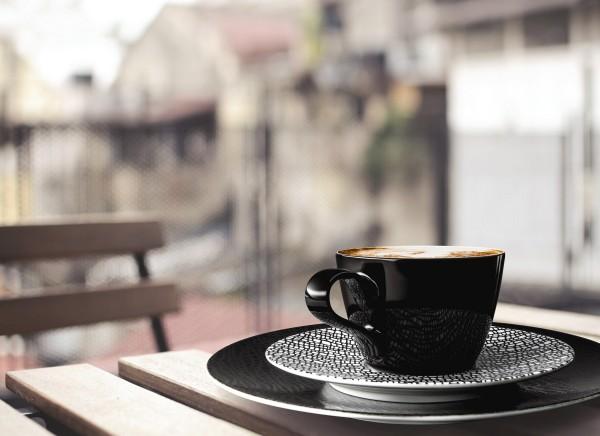 L Fashion glamorous black Kaffeegedeck 3tlg.