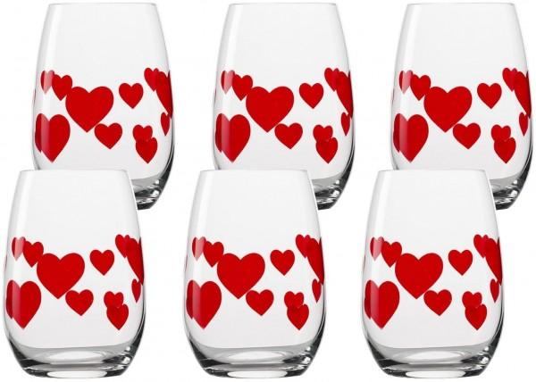 L`Amour Becher rotes Herz 6er Set