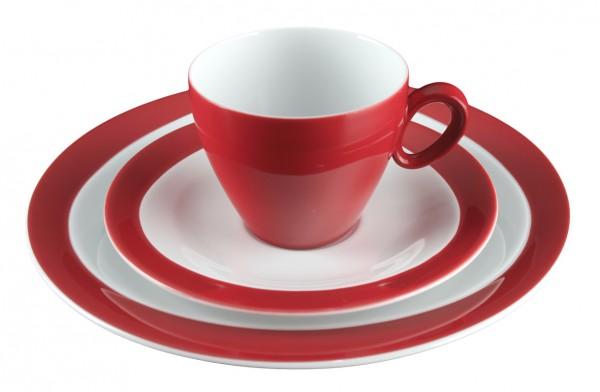 Kaffeegedeck 3- teilig, Trio rubinrot