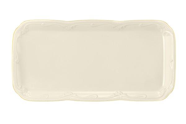 Rubin cream Goldrand Kuchenplatte eckig